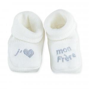 """Chaussons bébé """"J'aime mon frère"""""""