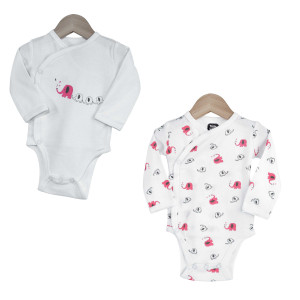 Lot de 2 bodies croisés 00M - Elephant rose